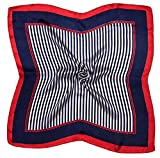 Red Navy Stripe Printed Small Square Fine Silk Scarf
