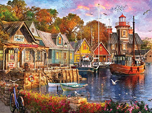 White Mountain Puzzles Harbor Evening - 1000 Piece Jigsaw Puzzle