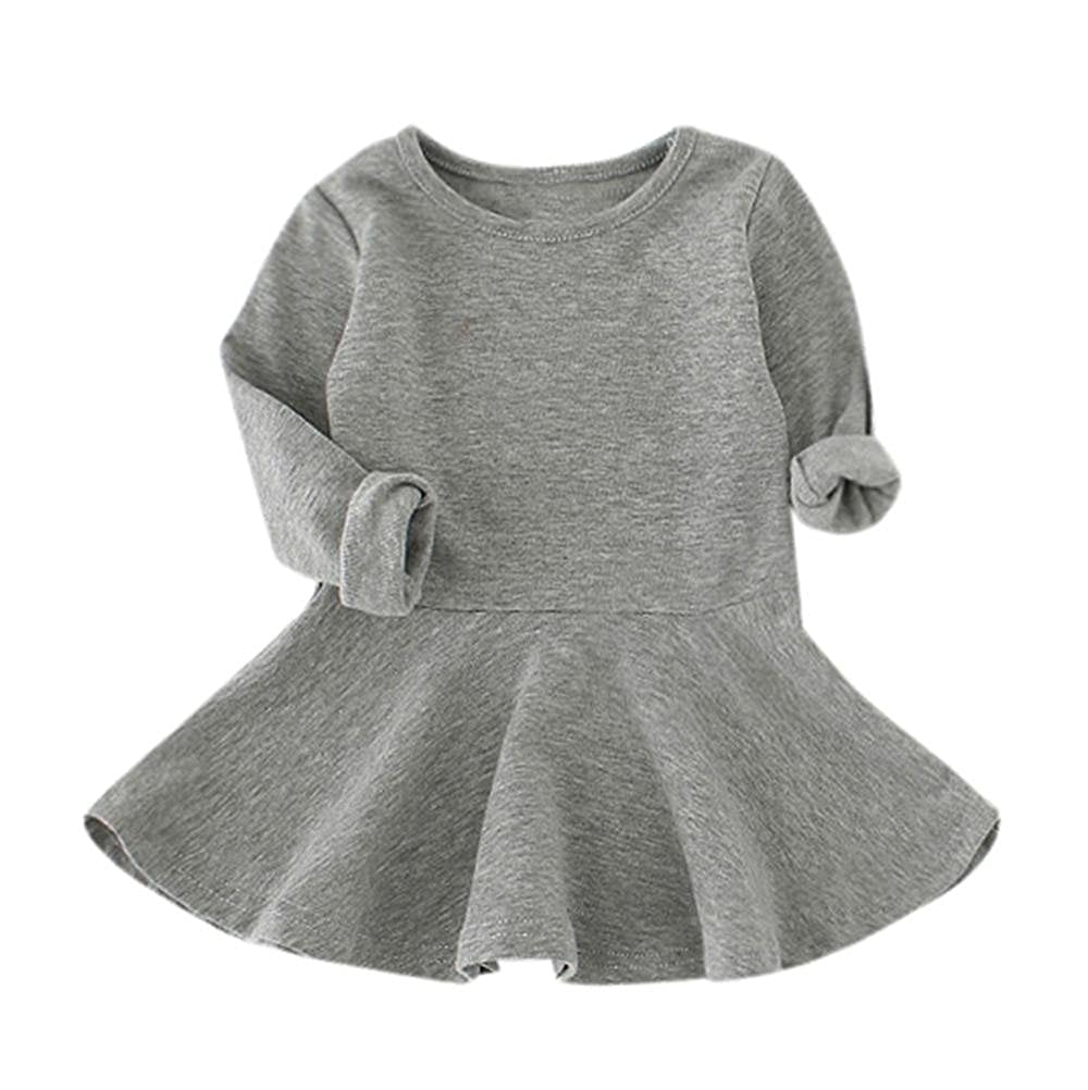 Dacawin Baby Solid Color Dress,Baby Girls Candy Color Long Sleeve Solid Princess Casual Toddler Kids Dress