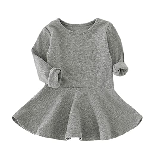d5b7a4c9d Amazon.com: Dacawin Baby Solid Color Dress, Baby Girls Candy Color Long  Sleeve Solid Princess Casual Toddler Kids Dress: Clothing