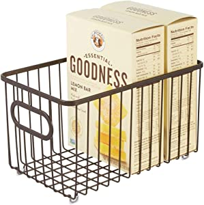 mDesign Metal Farmhouse Kitchen Pantry Food Storage Organizer Basket Bin - Wire Grid Design - for Cabinets, Cupboards, Shelves, Countertops, Closets, Bedroom, Bathroom - 10