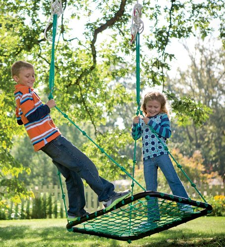 Deluxe Platform Hanging Tree Swing for Yard or Playground, Webbed Nylon Rope Mat and Padded Steel Frame, Multiple Kids 40 L x 30 W
