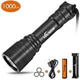 VOLADOR Diving Flashlight, 1000 Lumen Waterproof Diving Torch Rechargeable Scuba Dive Lights 150M Underwater LED…