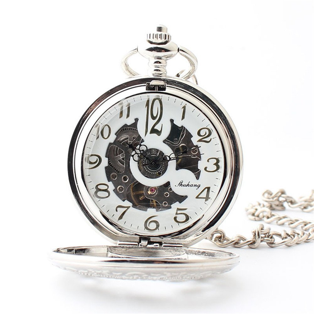 Zxcvlina Classic Smooth Exquisite Silvery Mechanical Pocket Watch Boutique Gear Carved Unisex Hollowed Retro Pocket Watch with Chain Suitable for Gift Giving by Zxcvlina (Image #2)
