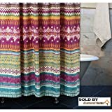 72 Inch Bohemian Shower Curtain, Southwest Tribal Vibe Motif Design, Hippie Rainbow Tie Dye Blend, Fushsia, Gold, Vivid Pink, Purple, Teal Blue - Abstract Geometric Stripe Pattern, Bathroom Beauty!