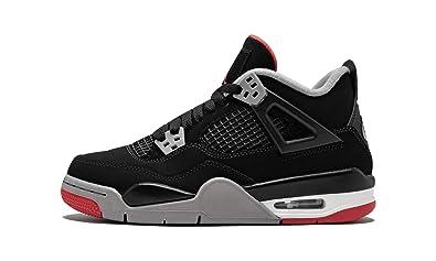 ekskluzywne buty wylot online tani Amazon.com   Jordan Air 4 Retro (GS) (Black/Fire Red-Cement ...