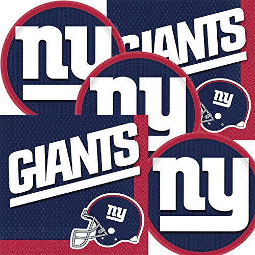 Logo Snack - New York Giants NFL Football Team Logo Plates And Napkins Serves 16