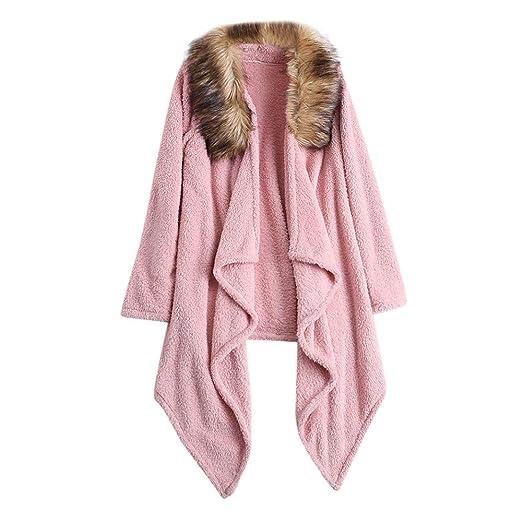 657029c0be3d3 Womens Winter Plush Cardigan Coat Faux Fur Patchwork Solid Color ...