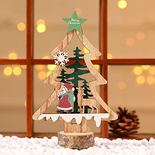 Feitb Christmas Mini Adornos de Escritorio de Madera para árbol de ...