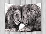 Wild Life Decor Tapestry By JAWO Lions Lover Head Zoom Portrait Wall Art Hanging for Bedroom Living Room Dorm 71X60Inches Wall Blankets, Grey
