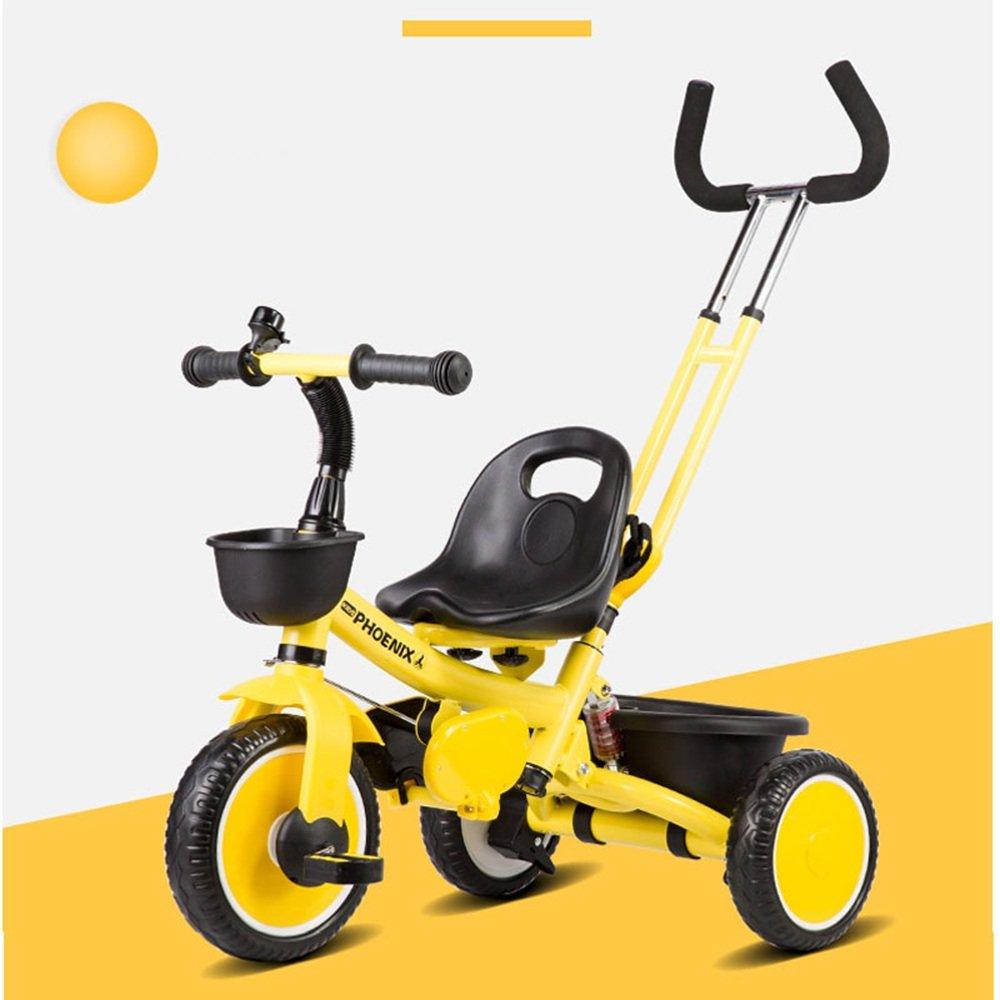 YANGFEI 子ども用自転車 パターハンドル付き子供用三輪車の取り外し可能な三脚 212歳 B07FGDD1T3イエロー いえろ゜