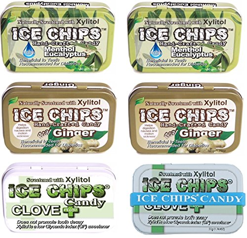 ICE CHIPS Candy 6 Pack Assortment (Therapeutic Pack) (Spa Ice)