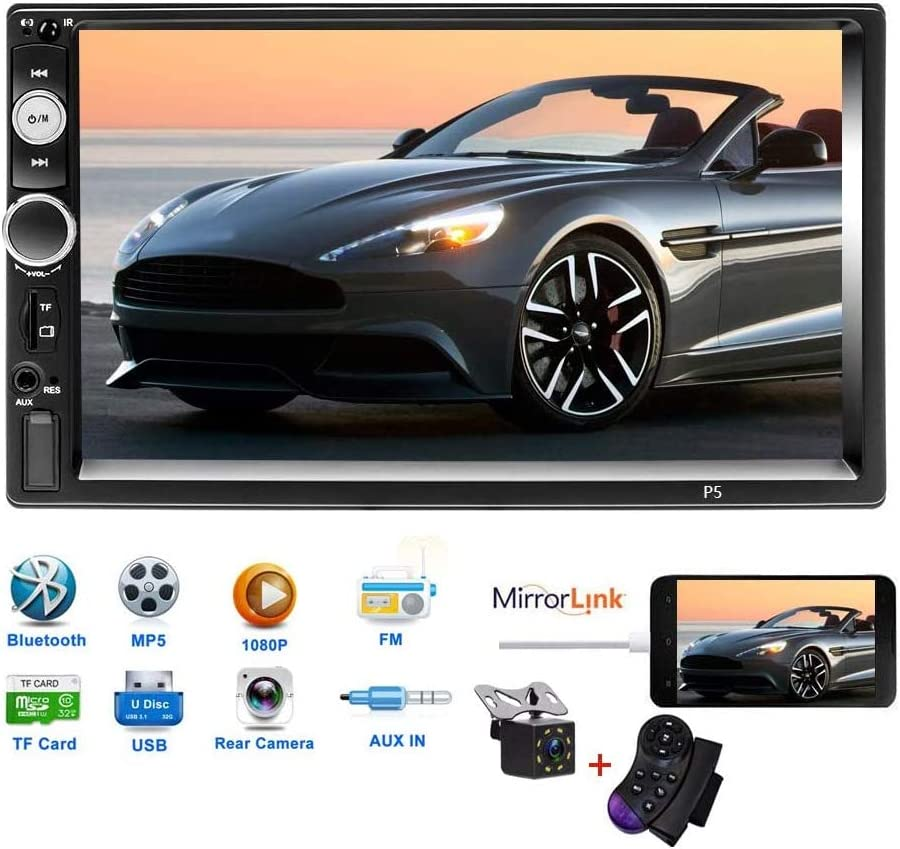 "Car Stereo Double Din Car Radio 7/"" LCD Touchscreen Indash Head Unit Bluetooth FM Radio Car Player DVR//AUX//USB//SD//Rearview Input Mirror Link with Remote Control Steering Wheel Control Backup Camera"