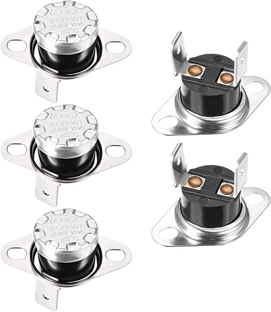 uxcell KSD301 Thermostat 95/°C 10A Normally Open N.0 Adjust Snap Disc Limit Control Switch Microwave Thermostat Thermal Switch 5pcs