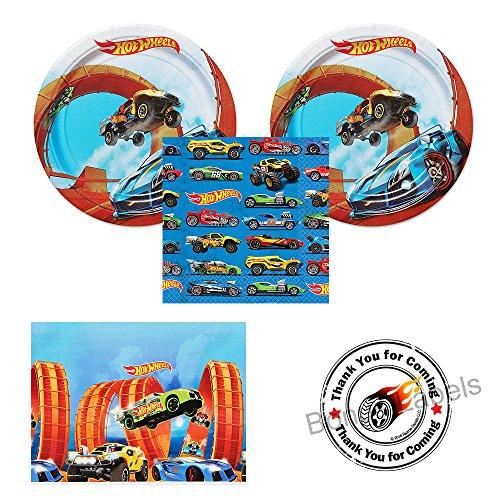 Hot Wheels Wild Racer party supplies - 16 guests - cake plates, napkins, tablecover plus bonus labels