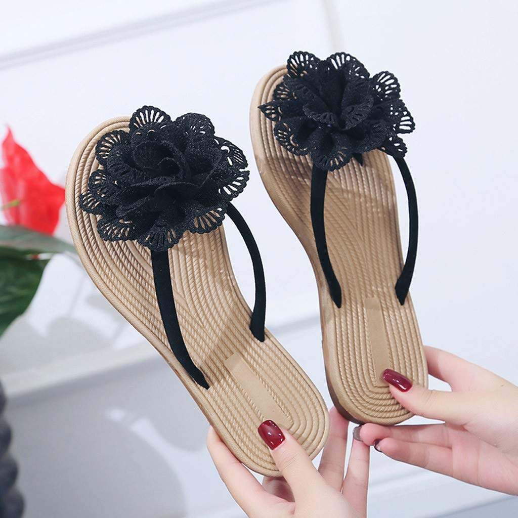 JSPOYOU Big Price Cut Womens Summer Bohemian Flats Flip Flops Shoes Ethnic Style Beach Slipper