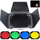 """Godox BD-04 Barn Door Solidly Barndoor Kit for 7"""" Standard Reflector with Honeycomb Grid and 4 Color Gel Filters (SUBD04…"""