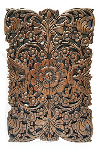 Carved wood wall art rustic plaque floral