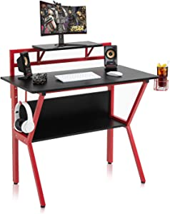 SP Gaming Desk 40 inch E-Sports PC Computer Desk Gaming Workstation Desk with PC Stand Shelves Home Office Desk Gaming Table with Cup Holder and Headphone Hook for Teens Students Black&Red