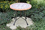 Outdoor Interiors Terra Cotta Mosaic Accent Table with Metal Base, 24-Inch, Charcoal