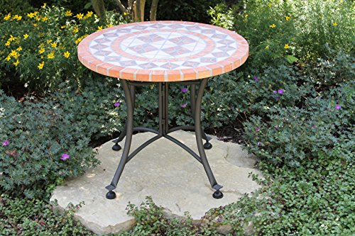 Outdoor Interiors Terra Cotta Mosaic Accent Table With