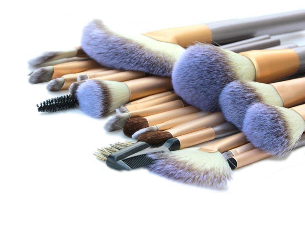 DRQ 24Pcs Kabuki Makeup Brushes Set Synthetic Kabuki Foundation Blending Blush Concealer Eye Face Liquid Powder Cream Cosmetics Lip Brush Tool Brushes Kit with Premium foldable Pouch