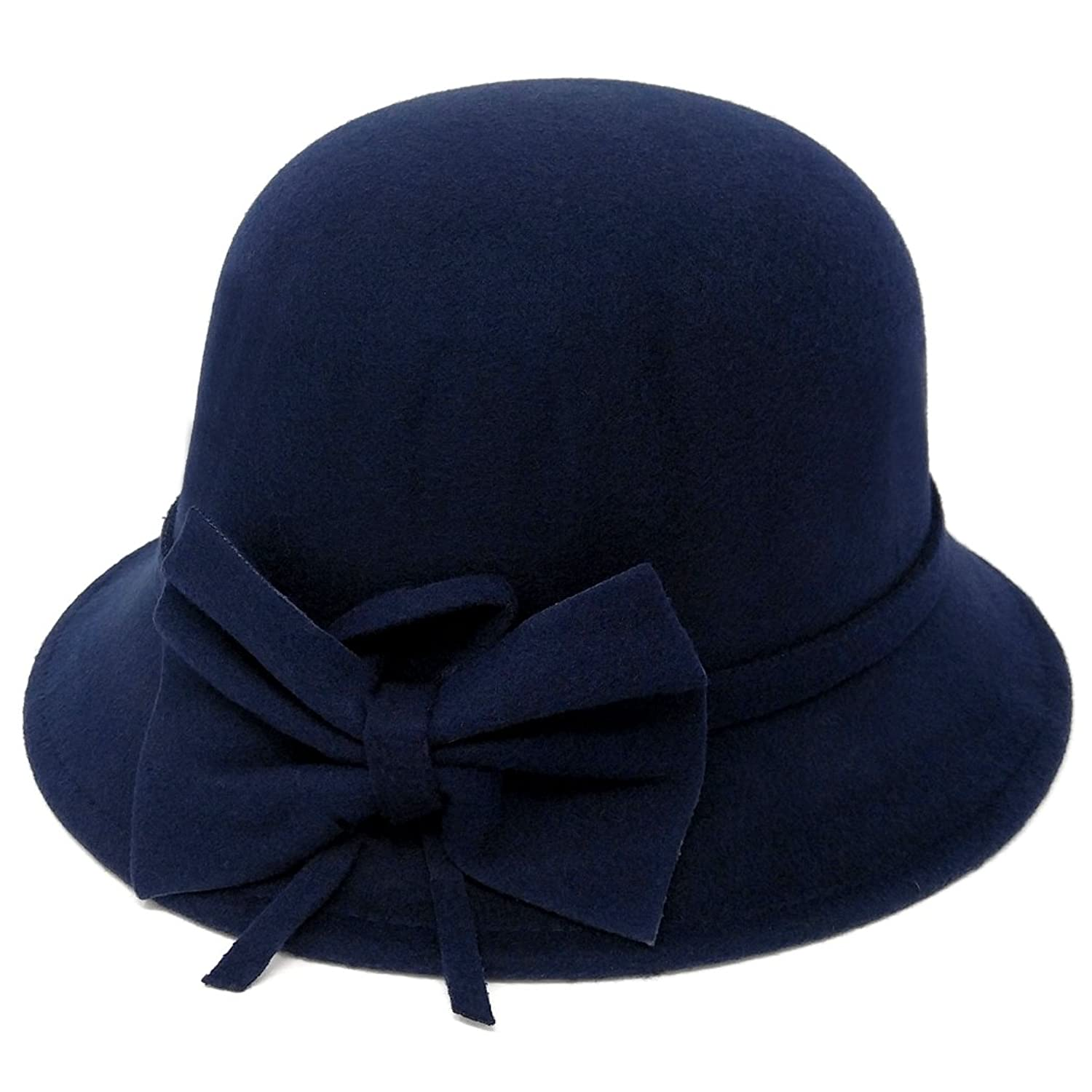 1930s Style Hats | 30s Ladies Hats Vintage Style Felt Cloche Fedora Hat Matching Hatband with Side Bow Adjustable $24.95 AT vintagedancer.com
