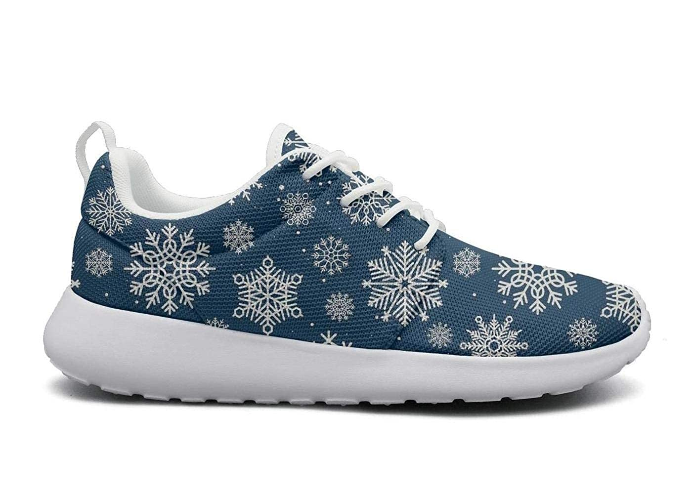 Christmas snowflakes image Womens lightweight Athelitic Running shoes lace-up breathable fitness sneakers
