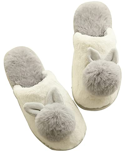 6d60adcdeb7 FreLO Women s Grey Plush Bunny Fuzzy Slippers Fluffy Slippers ...