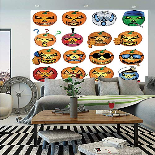 SoSung Halloween Decorations Removable Wall Mural,Carved Pumpkin with Emoji Faces Halloween Humor Hipster Monsters Art,Self-Adhesive Large Wallpaper for Home Decor 66x96 inches,Orange -