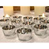 Silver Glass Tea Light Candle Holders - Set of 72 - Metallic Silver Candle Holders - Wedding Centerpieces - Silver Decorations - 25th Anniversary Decorations - Glass Candle Holders
