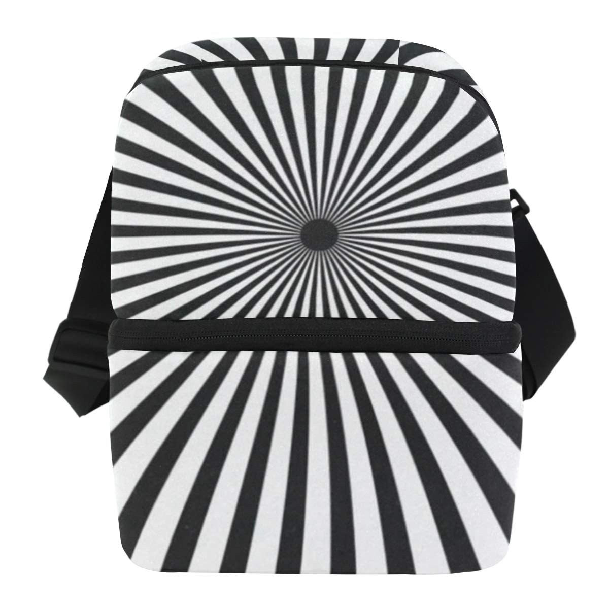 Lunch Bag Radiating Black And White Line Portable Cooler Bag Mens Leakproof Food Storage Zipper Tote Bags for Beach