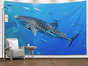 Pamime Tapestry Wall Hanging Whale, Home Decor Tapestry Large Whale Shark Swimming in Shallow Water Over Tropical Coral Reef Dorm Room Bedroom Living Room 80x60 Inches(200x150cm) InHouse