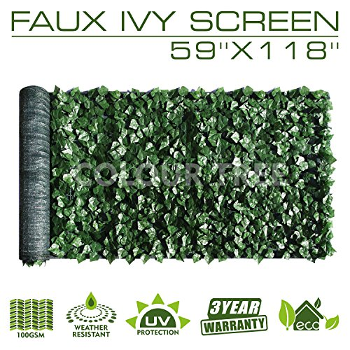ColourTree Artificial Hedges Faux Ivy Leaves Fence Privacy Screen Panels  Decorative Trellis - 59