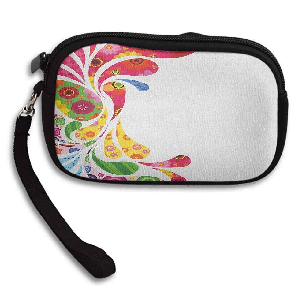 Colorful Female Wallets Paisley Leaves with Floral Elements Inside Carnival Inspired Retro Design Print W 5.9x L 3.7 Coin Bag Zipper Small Money Purses