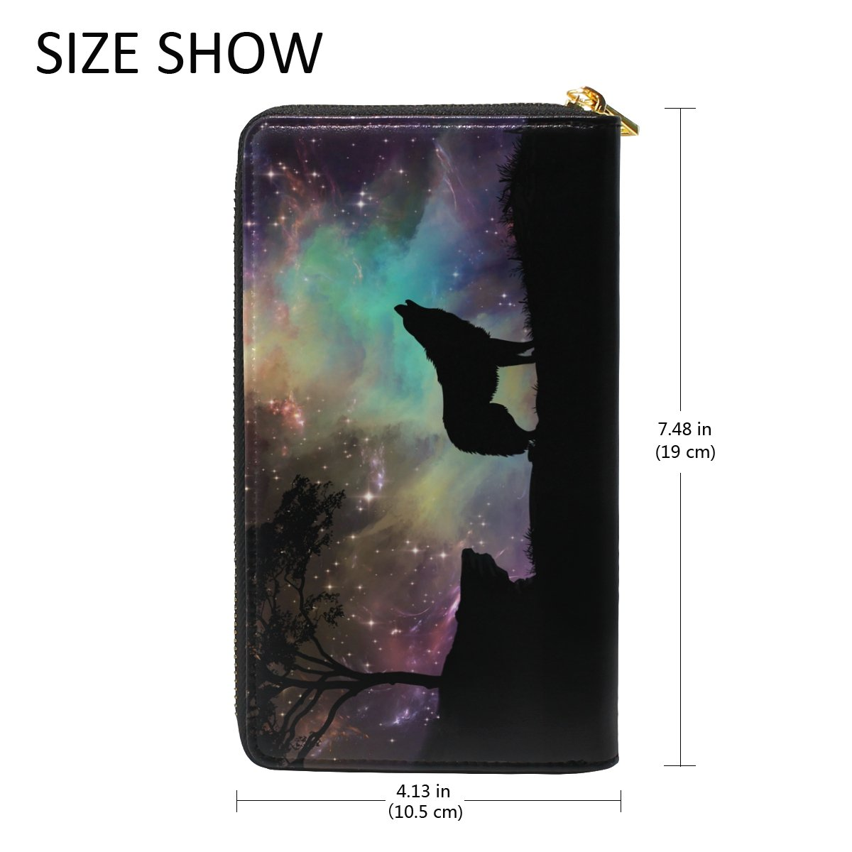 Galaxy Wolf Genuine Leather Girl Zipper Wallets Clutch Coin Phone for Women by FeiHuang (Image #5)