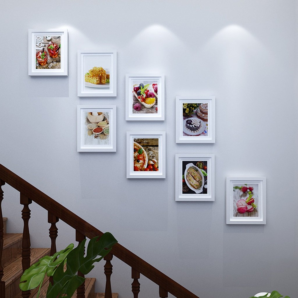 ZGP Home@Wall photo frame Staircase Wood Photo Wall Decoration Painting Simple Modern Photo Wall Apartment Wall Background Creative Wall-mounted Photo Frame Combination (Color : C)