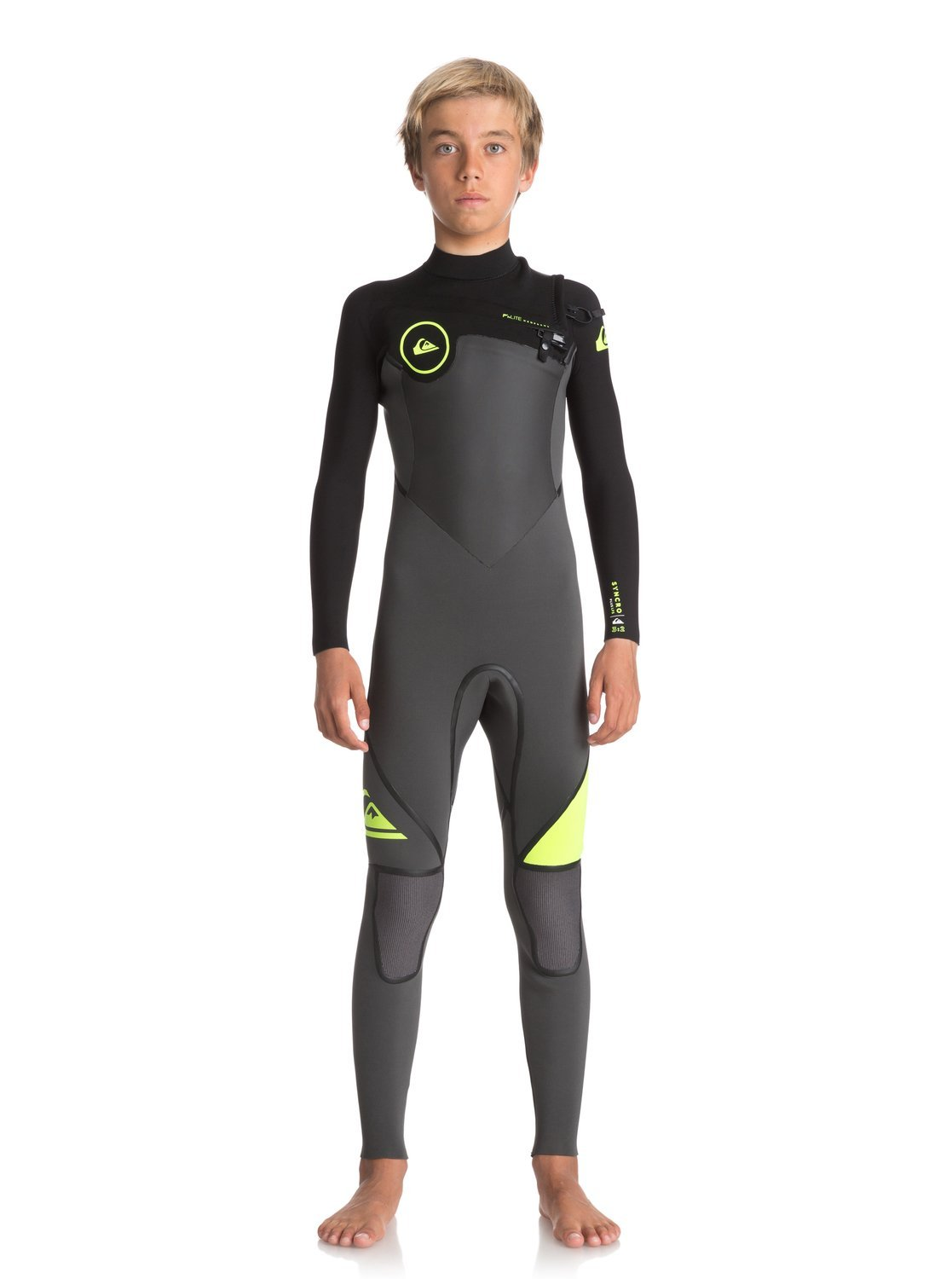 Quiksilver Boys 3/2Mm Syncro Plus Chest Zip - Full Wetsuit Chest Zip Wetsuit Black 8 by Quiksilver