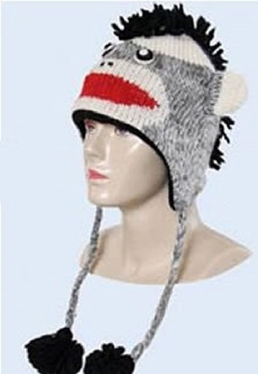 Kid Child Wool PUNK MONKEY Beanie Hat Fleece Lined cute gift ONE SIZE Grey kathmandu Black Sock Monkey