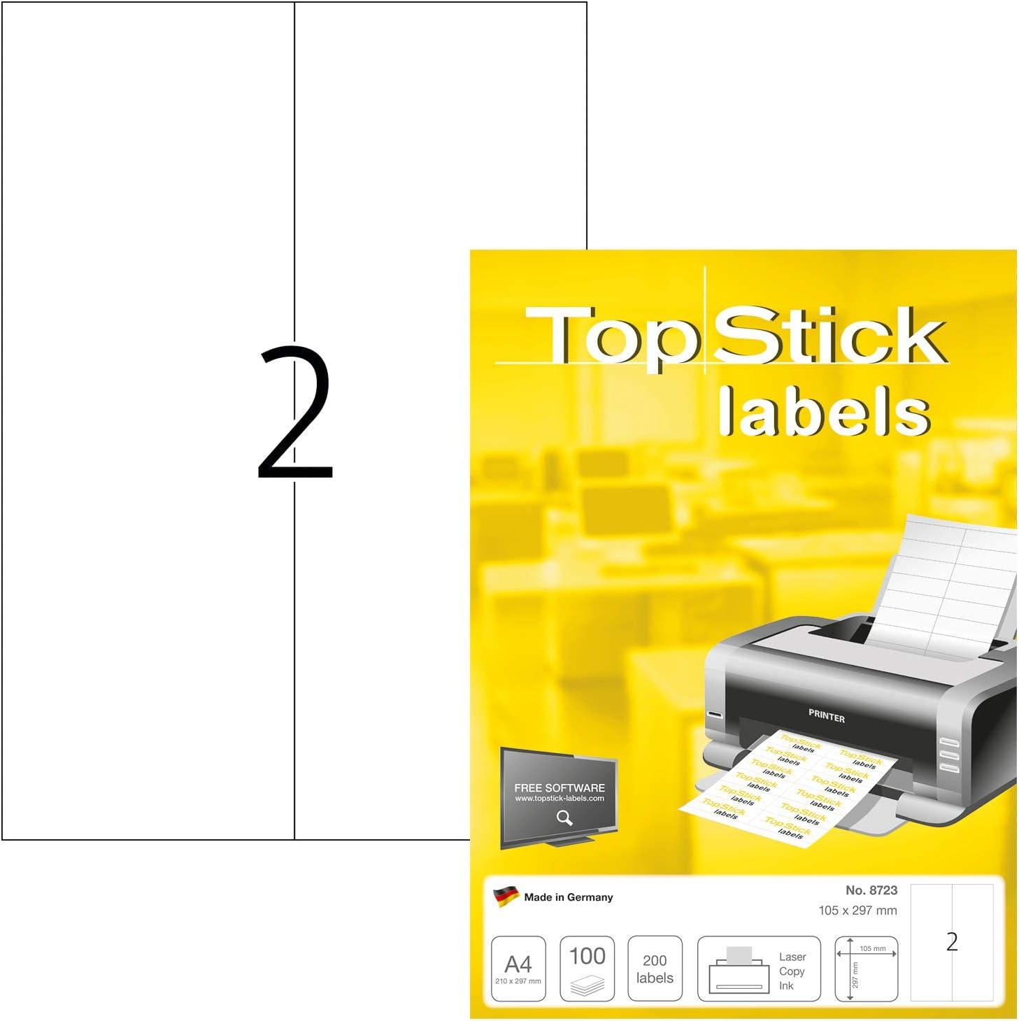 200 x 95 mm, 100 Blatt, Papier, matt selbstklebend permanent haftend Adressaufkleber bedruckbar 300 Klebeetiketten wei/ß TopStick 8793 Universal Etiketten DIN A4 gro/ß