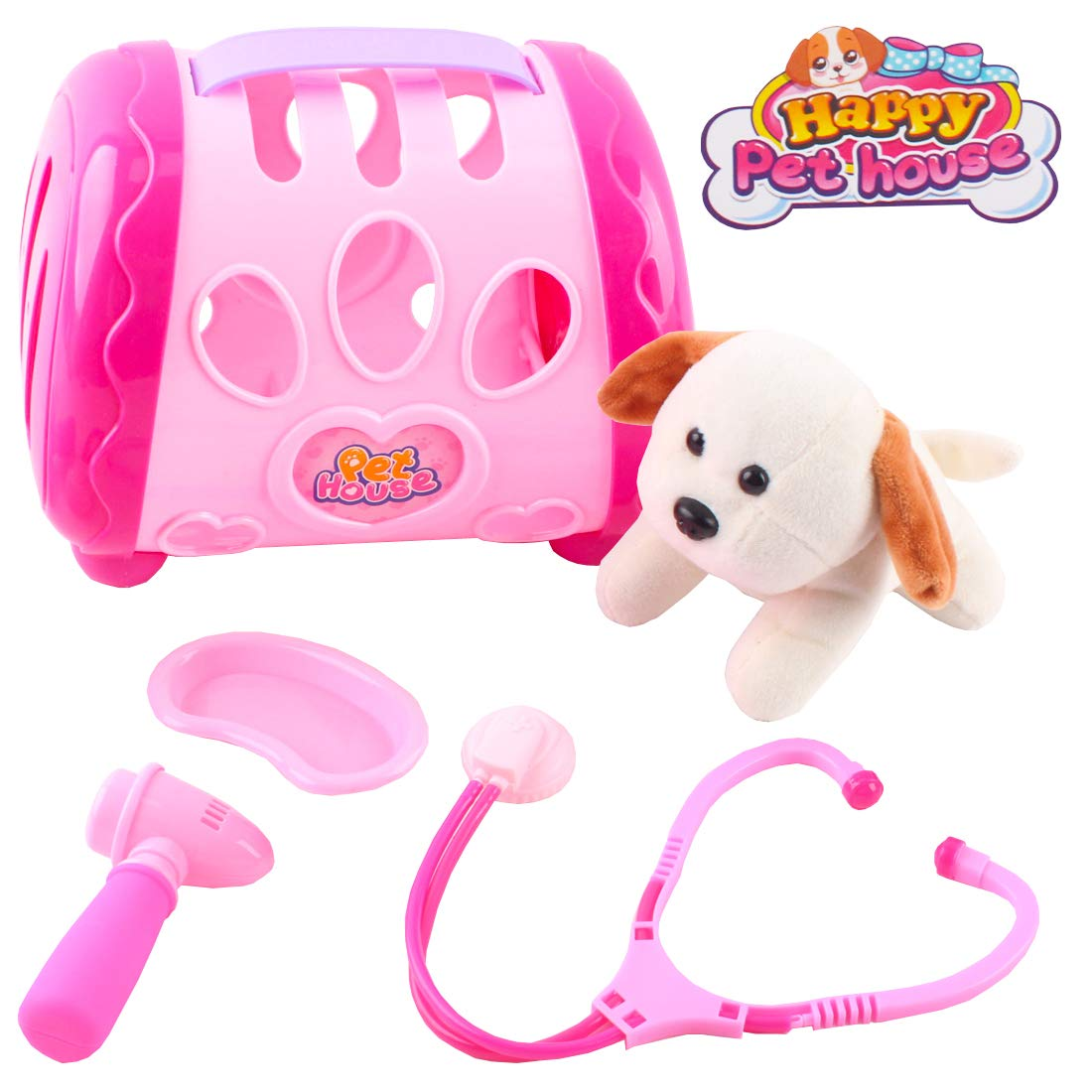 deAO Toys Happy Pet House Vet Animal Doctor Role Play Set with Accessories (Pink)