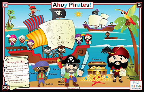 (Tot Talk Ahoy Pirates Educational Placemat for Kids, Washable and Long-Lasting)
