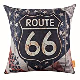 LINKWELL 18''x18'' Vintage Wood Rusted Look USA American National Flag Route 66 for Man Cave Throw Pillow Cover Brand Cushion Cover (CC1114)