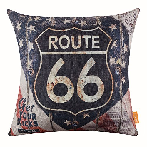 LINKWELL - Route 66 accent pillow - 4th of July accent pillow