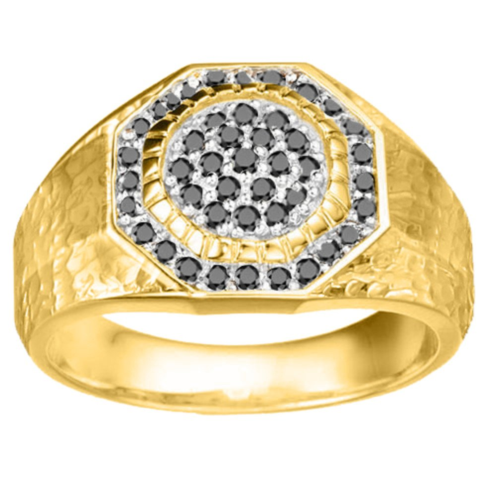 0.48Ct Sterling Silver Cool Mens Ring Black Diamonds Size 3 to 15 in 1//4 Size Intervals