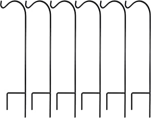 Ashman Shepherd's Hooks 37 Inch, Black, Set of 6 Made of Premium Metal for Hanging Solar Lights, Bird Feeders, Mason Jars, Flower Basket, Christmas Lights, Lanterns, Garden Stakes and Wedding Décor