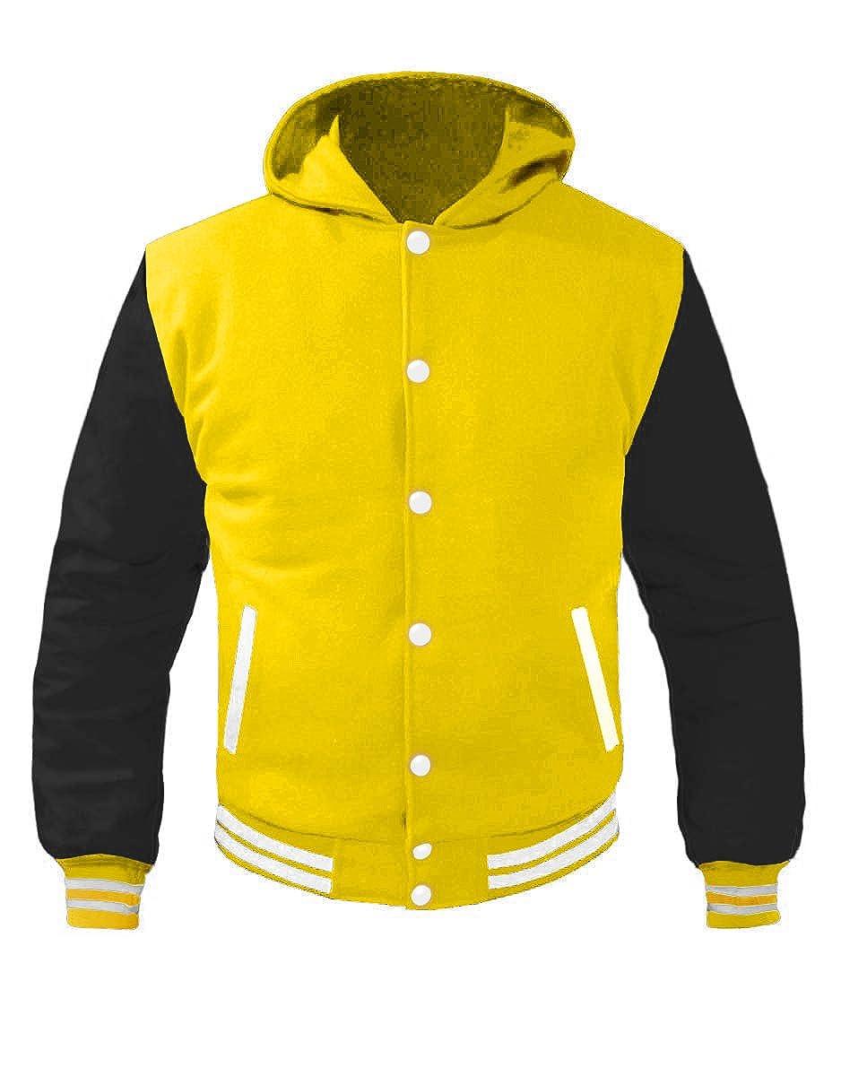 Superb Leather Sleeve Original American Varsity Letterman College Baseball Kid Wool Hoodie Jackets
