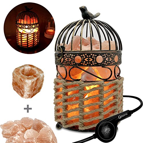 Heavy 8-11 lbs Himalayan Salt Lamp Night Light,Crystal Table Desk Lamp with Vintage Black Gray Gold Bird Cage Sisal Weaved Lantern Basket Touch Dimmer Switch,1 Salt Candle Holder Set, Pack ()