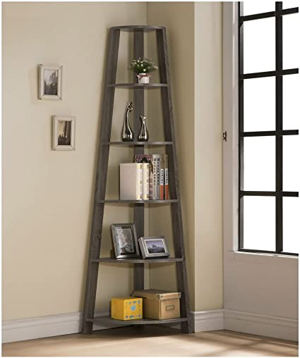 Cheap Weathered Grey Finish Wood Wall Corner 5-Tier Bookshelf Bookcase Accent Etagere modern bookcase for sale