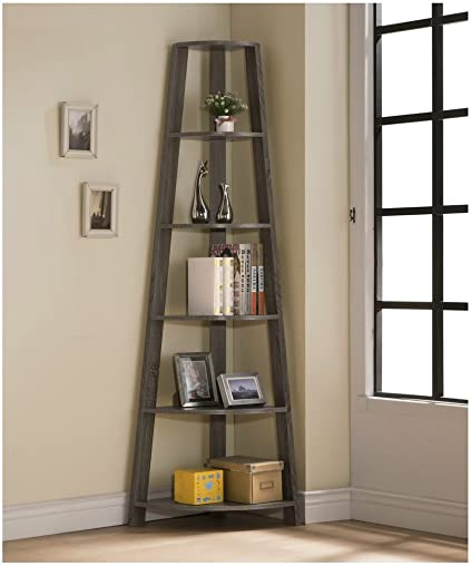 Weathered Grey Finish Wood Wall Corner 5-Tier Bookshelf Bookcase Accent Etagere